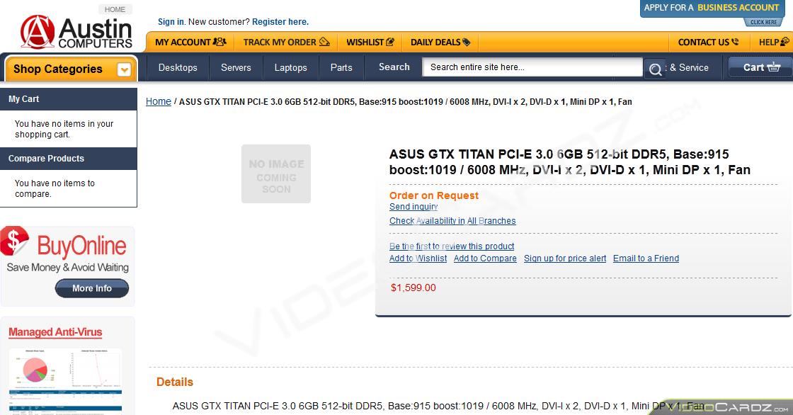 ASUS GeForce GTX Titan Austing Listing