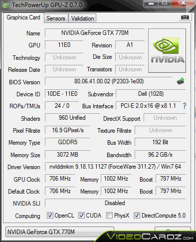 NVIDIA GeForce GTX 770M GPU-Z