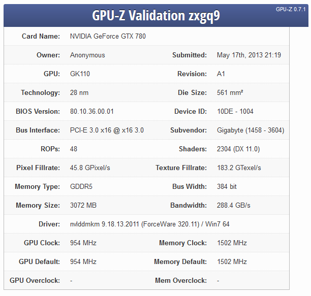 NVIDIA GeForce GTX 780 GPU-Z