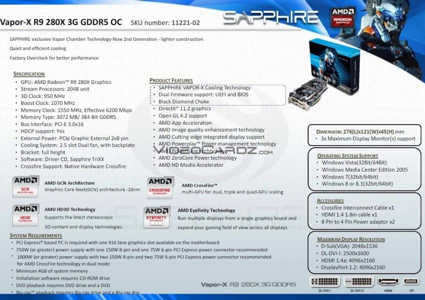 11221-02 R9 280X Vapor-X 3G GDDR5 Specs