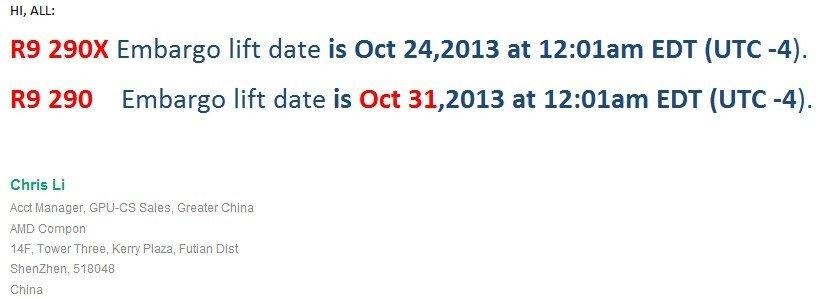AMD R9 290 series launch dates