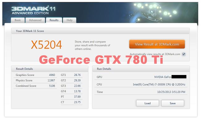 NVIDIA GeForce GTX 780 TI 3Dmark11