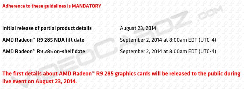 AMD Radeon R9 285 NDA lift date