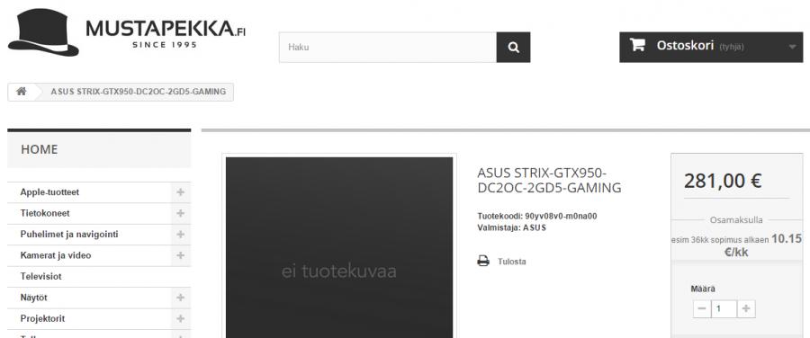 ASUS STRIX-GTX950-DC2OC-2GD5-GAMING - mustapekka.fi