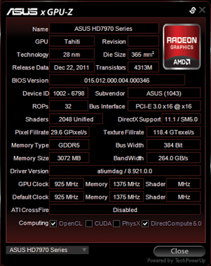 ASUS GPU Tweak Has in-built GPU-Z