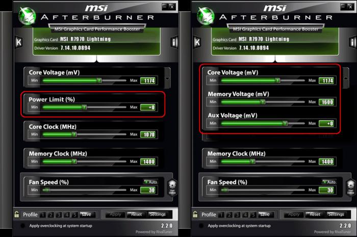 MSI Afterburner PowerLimit and TripleOvervoltage