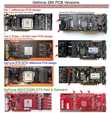 GeForce 285 GTX PCB versions