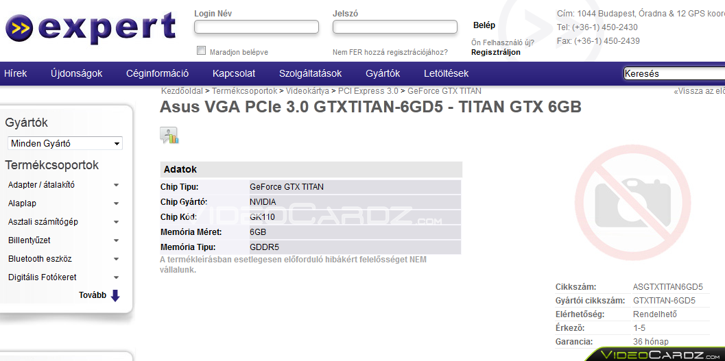New ASUS GeForce GTX Titan Listing