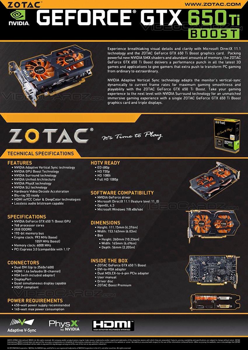 ZOTAC GTX 650 TI Boost Datasheet