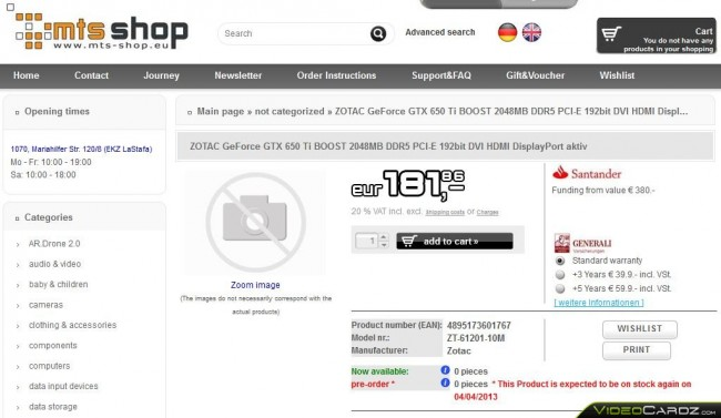 ZOTAC GeForce GTX 650 Ti Boost Listing
