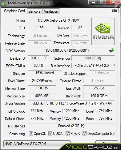 NVIDIA GeForce GTX 780M GPU-Z
