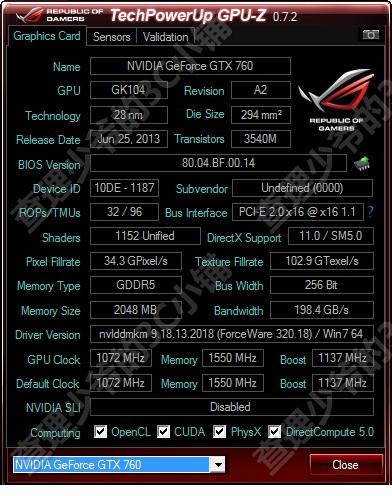 XENON GTX 760 JetStream GPU-Z