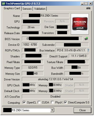 AMD Radeon R9 290X GPUZ