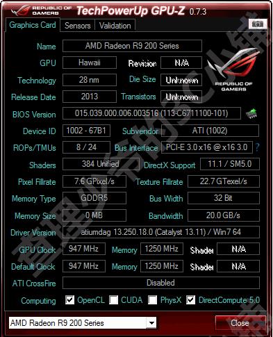 AMD Radeon R9 290 GPU-Z