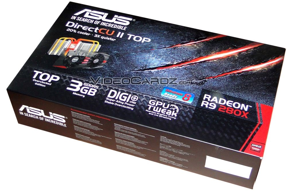 ASUS Radeon R9 280X DirectCU II TOP pictured and detailed
