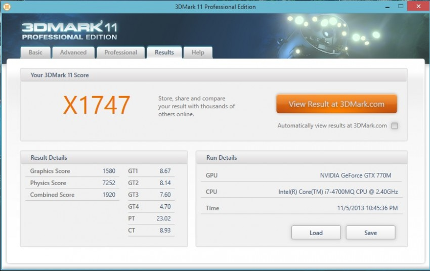 GTX 770M 3DMARK extreme