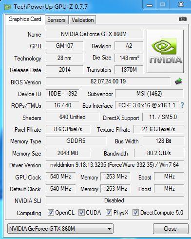 GeForce GTX 860M GPUZ