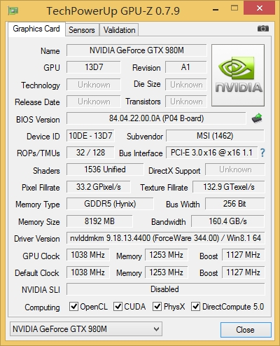NVIDIA GeForce GTX 980M Specifications