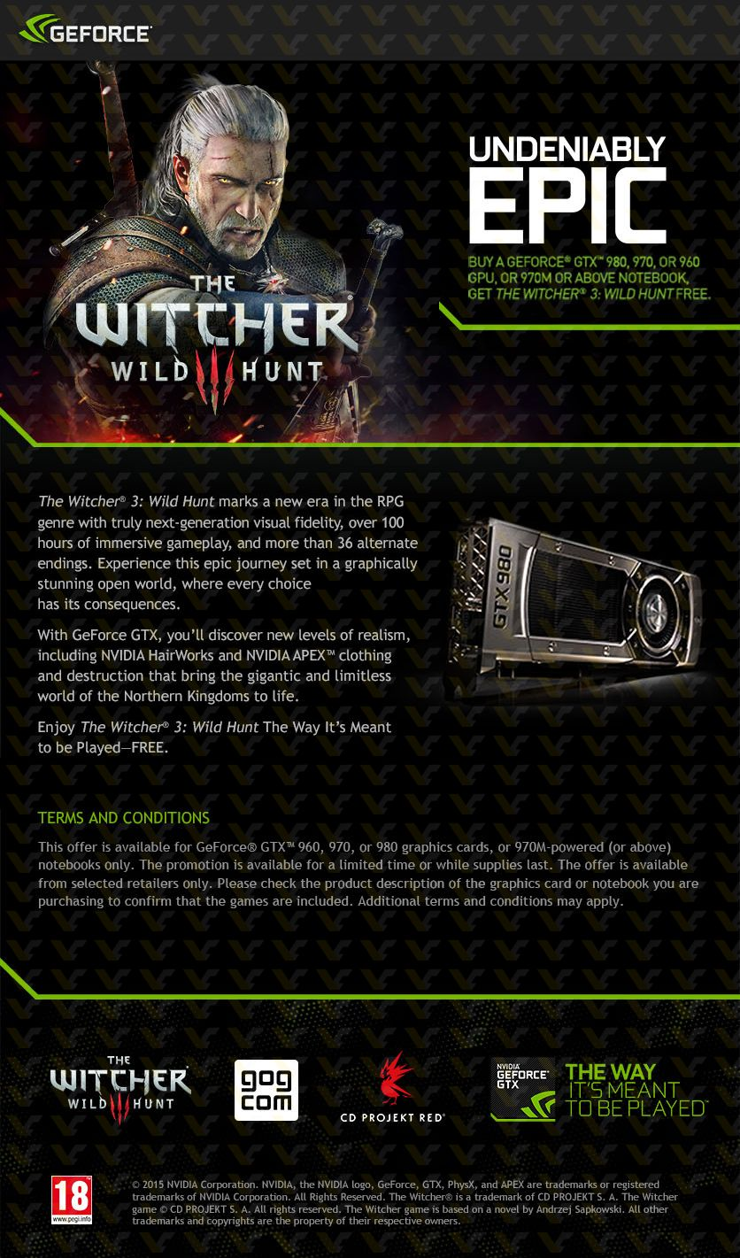 Witcher3 Free with NVIDIA GTX 900