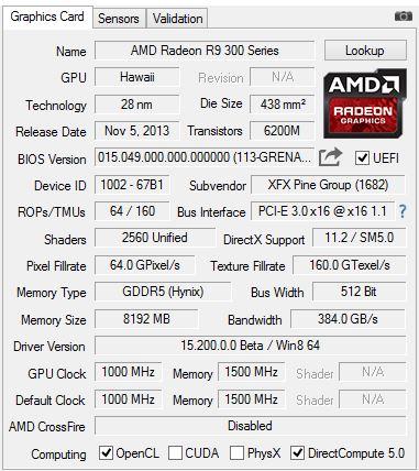 AMD Radeon R9 390 GPUZ