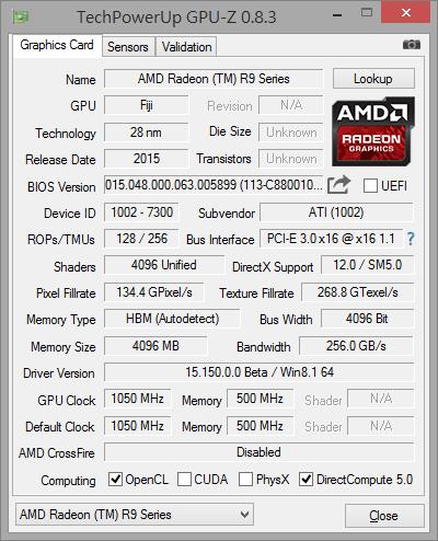 AMD Radeon R9 Fury X GPU-Z