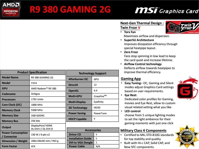 MSI R9 380 2GB