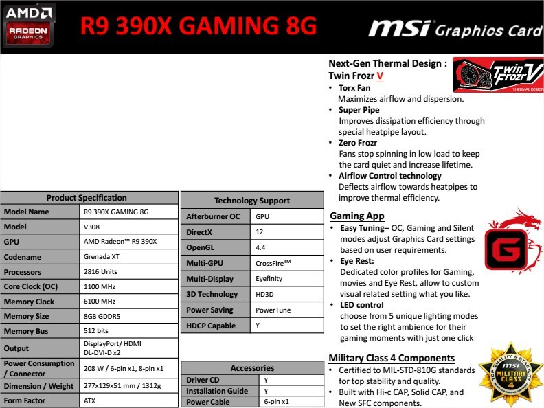 MSI R9 390X GAMING 8GB