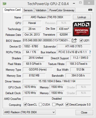 HIS Radeon R9 390X IceQX2 OC GPUZ
