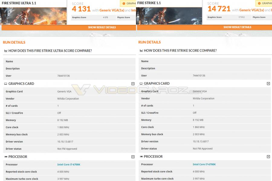 NVIDIA GTX 1070 3DMark scores