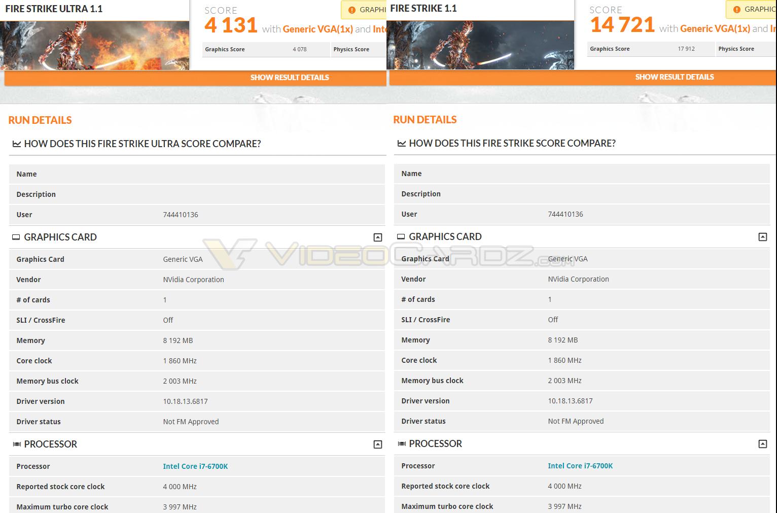 NVIDIA GeForce GTX 1070 3DMark FireStrike benchmarks