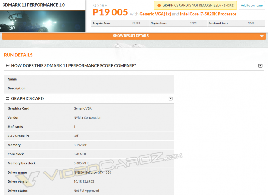 NVIDIA GeForce GTX 1080 3DMark11 Performance VC