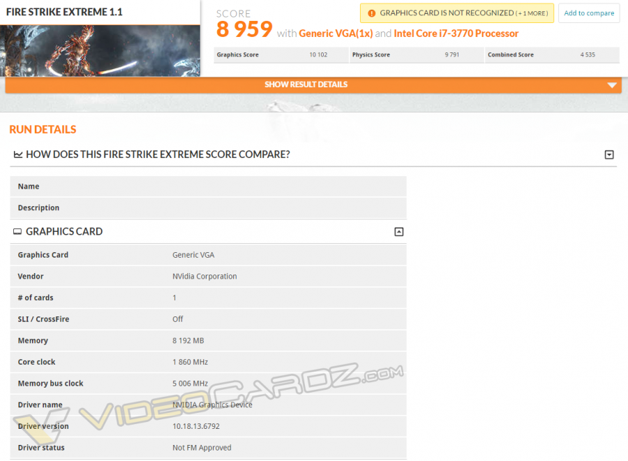 NVIDIA GeForce GTX 1080 FireStrike Extreme VC