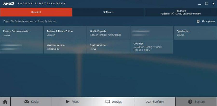 AMD RX 480 Radeon Settings