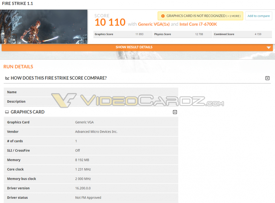 AMD Radeon RX 480 3DMark FS Performance
