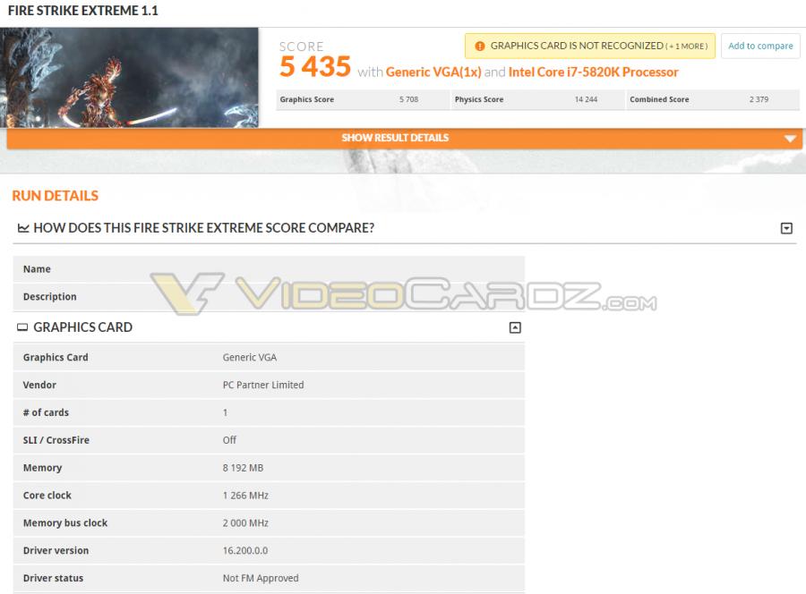 AMD Radeon RX 480 3DMark Fire Strike Extreme
