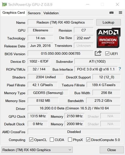 AMD Radeon RX 480 8GB GPUZ