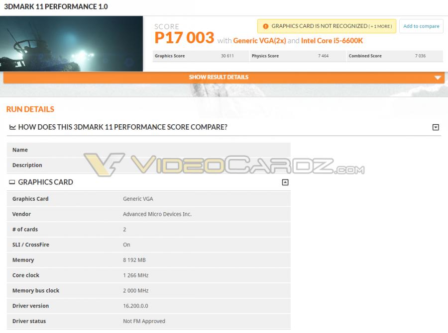AMD Radeon RX 480 CF 3DMark 11