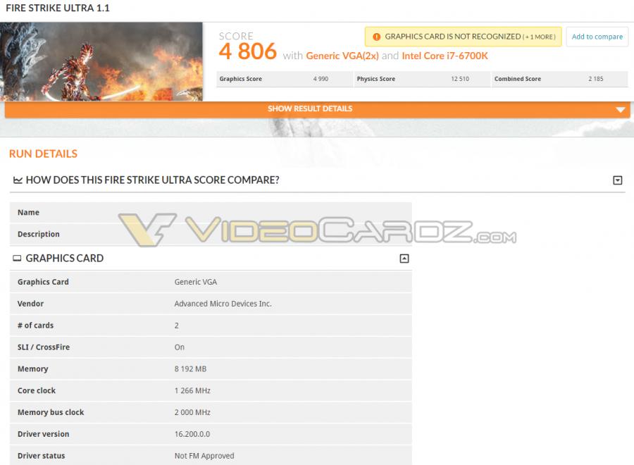 AMD Radeon RX 480 CF 3DMark FS Ultra