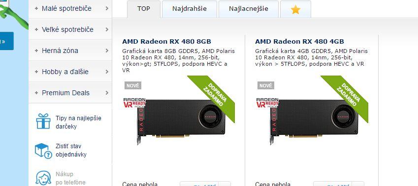 RX 480 8GB and 4GB ALZA.Sk