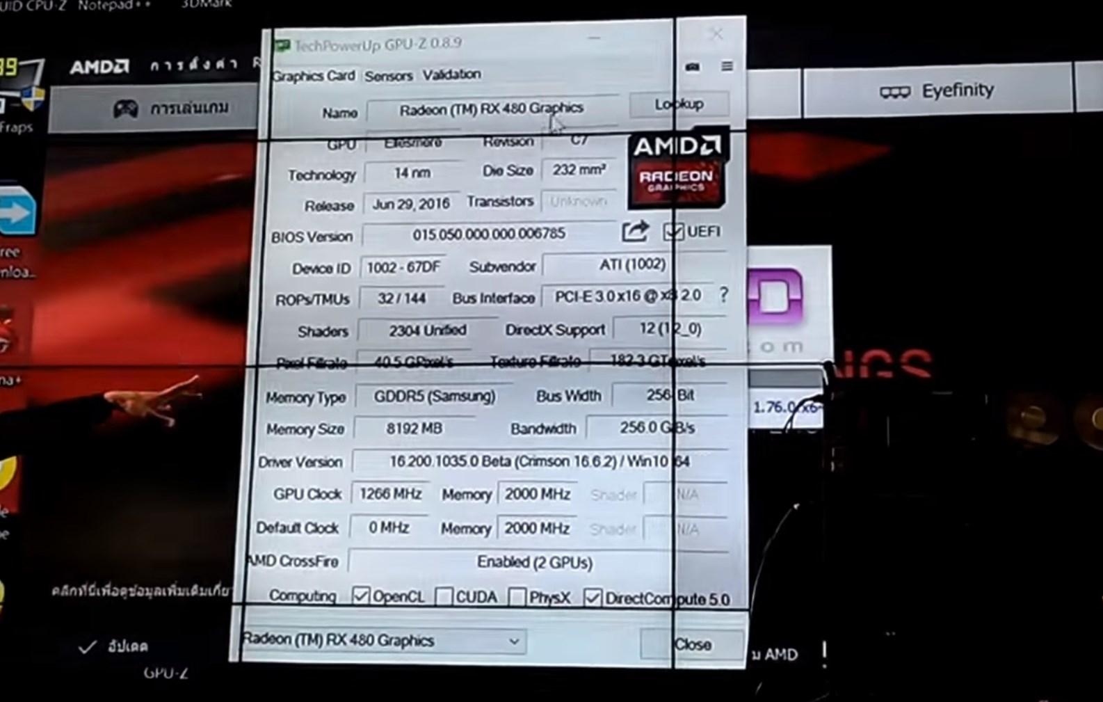 Radeon RX 480 GPUZ