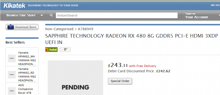 SAPPHIRE TECHNOLOGY RADEON RX 480 8G GDDR5 PCI-E HDMI 3XDP UEFI I