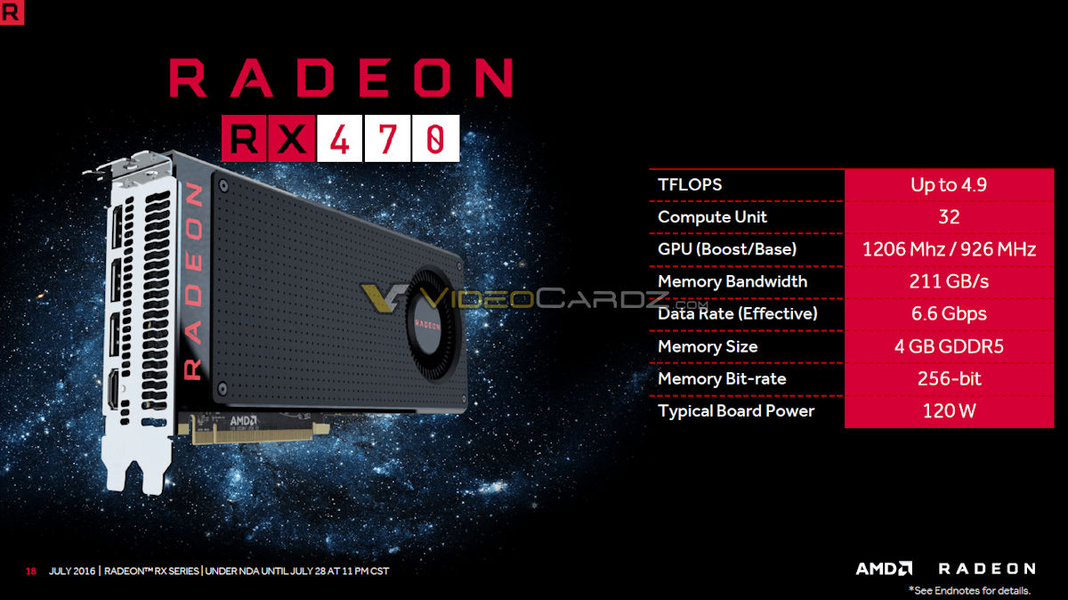 AMD Radeon RX 470 and Radeon RX 460 official specs and