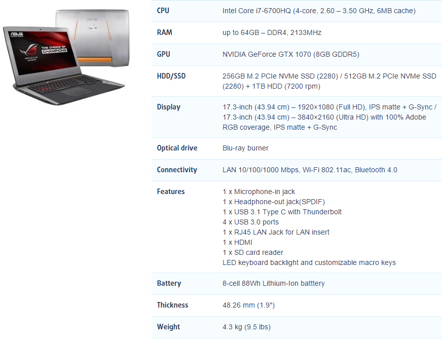 ASUS ROG G752VS NVIDIA GTX 1070