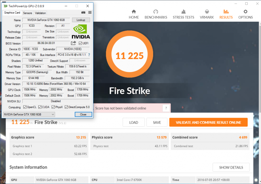 NVIDIA GeForce GTX 1060 Fire Strike Performance