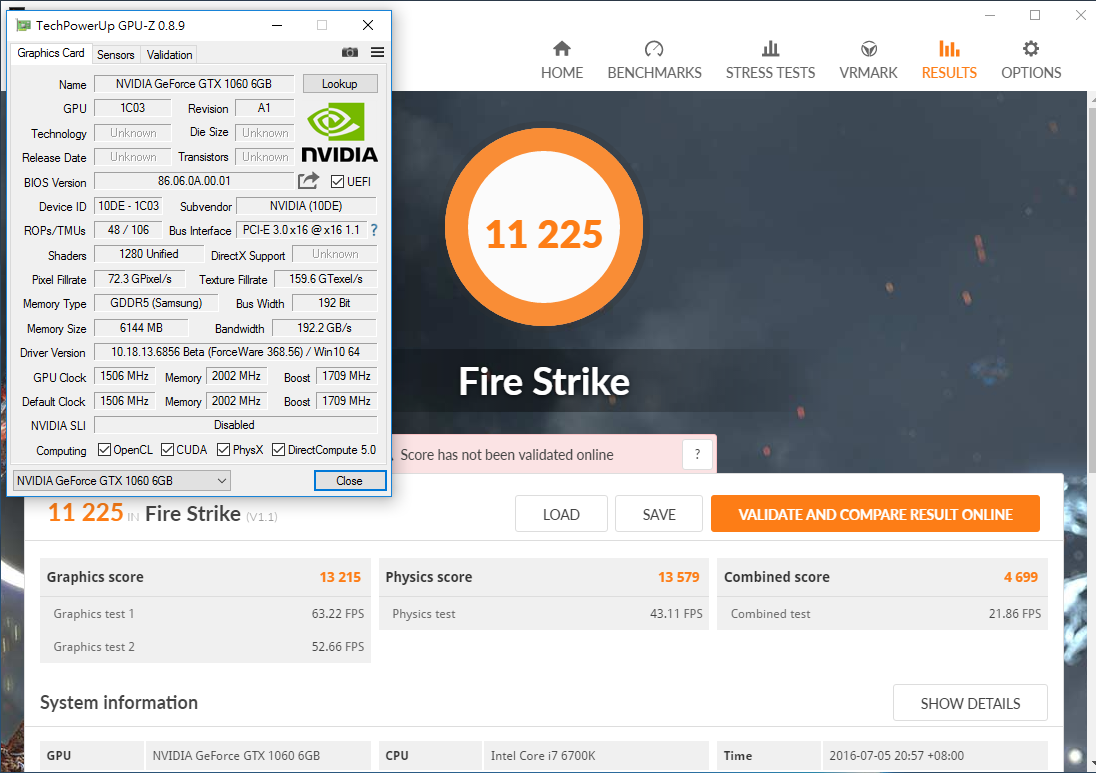 NVIDIA GeForce GTX 1060 3DMark Fire Strike performance
