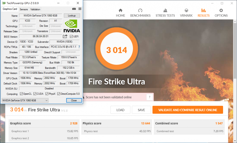 NVIDIA GeForce GTX 1060 Fire Strike Ultra (1)