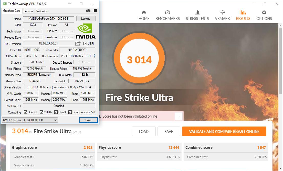 NVIDIA GeForce GTX 1060 3DMark Fire Strike performance