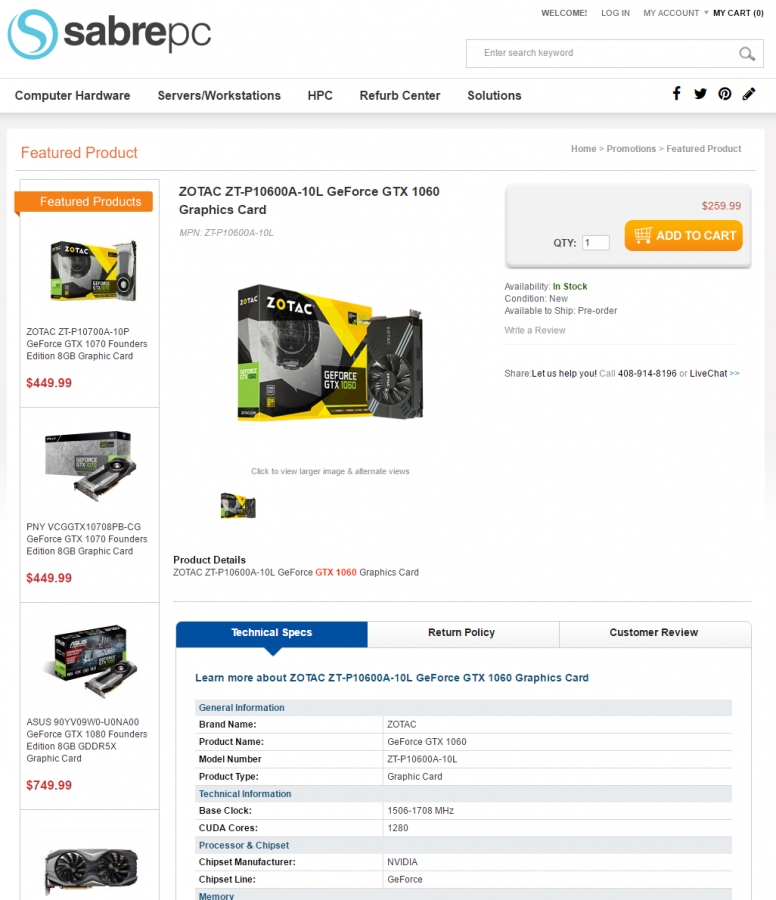 ZOTAC ZT-P10600A-10L GeForce GTX 1060 Graphics Card -SabrePC.com