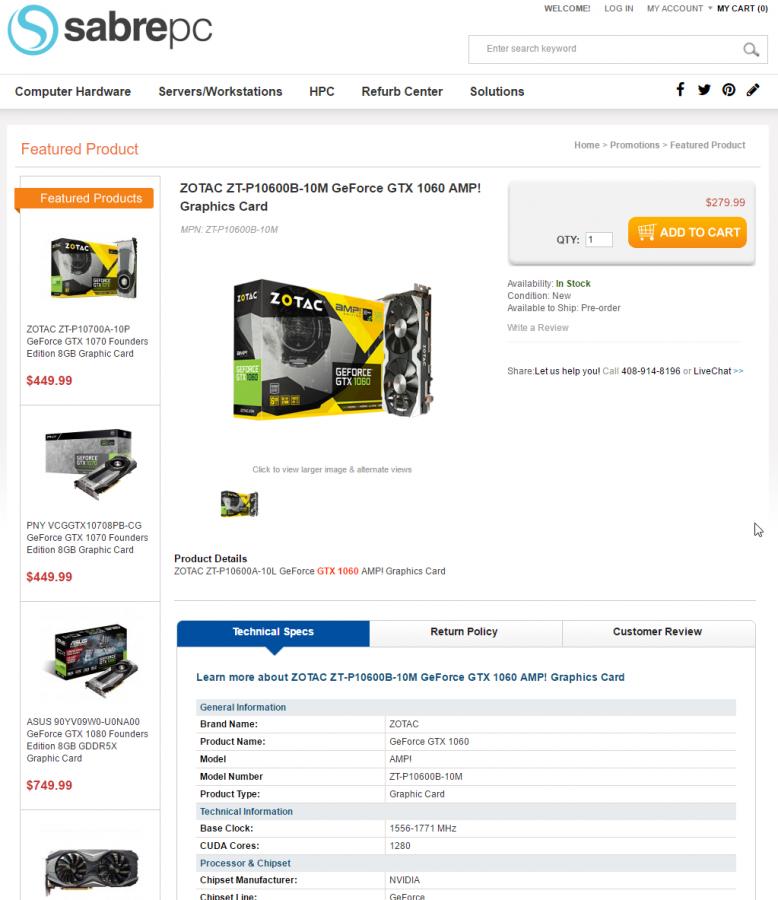 ZOTAC ZT-P10600B-10M GeForce GTX 1060 AMP! Graphics Card -SabrePC.com