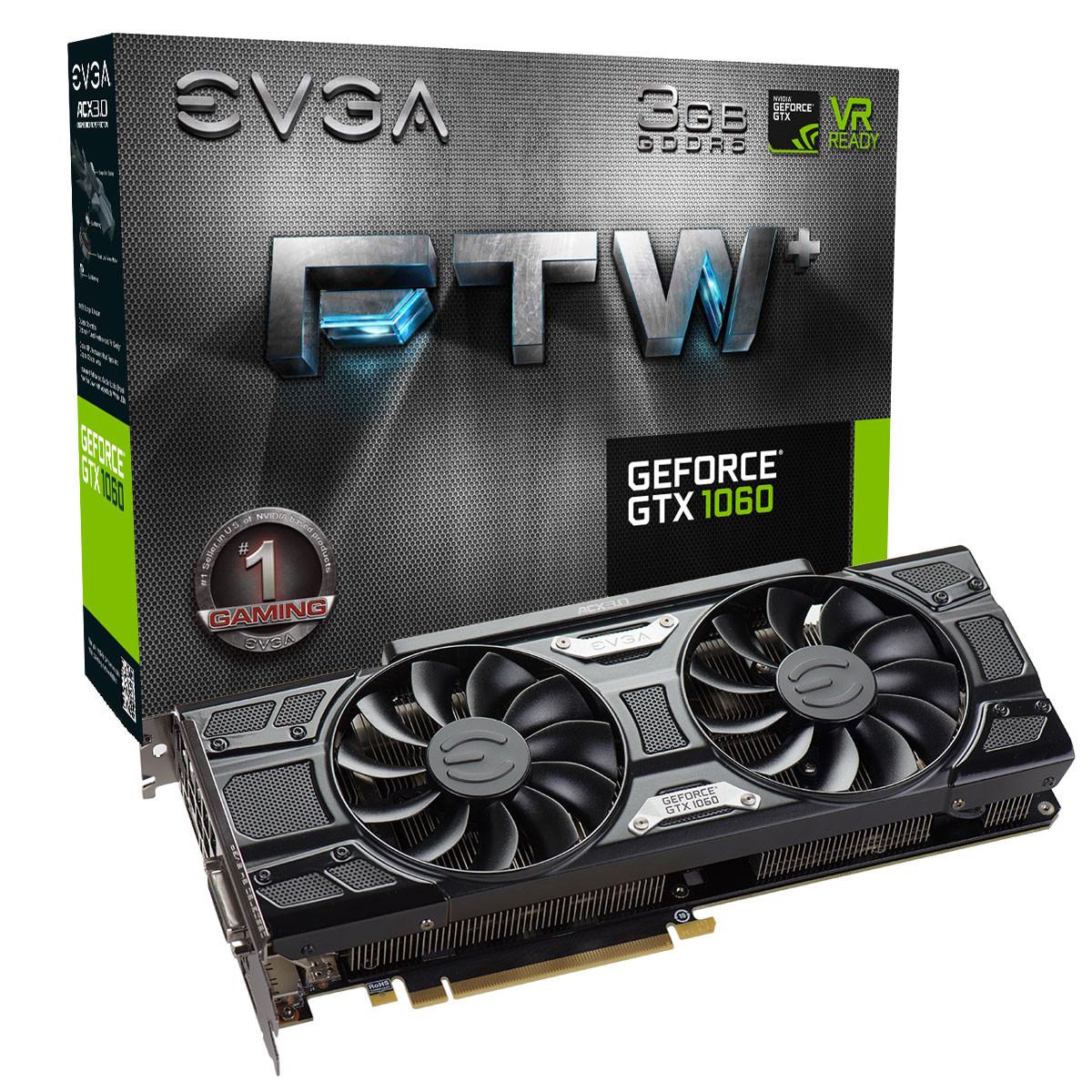 EVGA announces GeForce GTX 1060 3GB FTW, SSC and SC